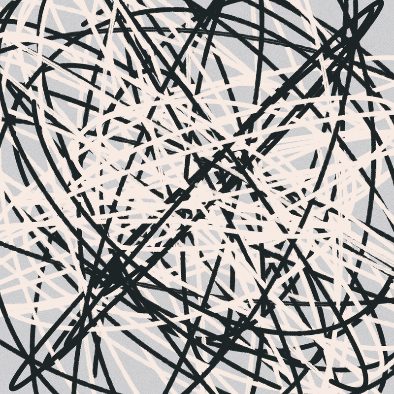 Objkt 383127: Generative art, written in Java with Processing. Scribbles are drawn by plotting points for each iteration of a Boids algorithm. By @__orderandchaos