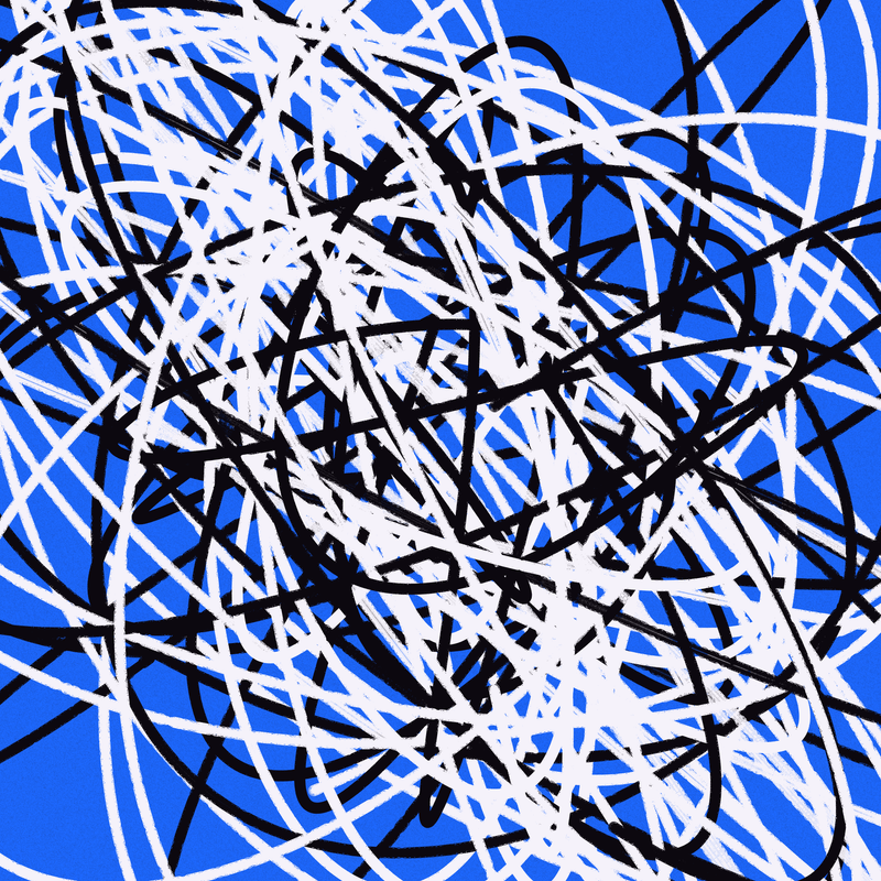 Objkt 383339: Generative art, written in Java with Processing. Scribbles are drawn by plotting points for each iteration of a Boids algorithm. By @__orderandchaos